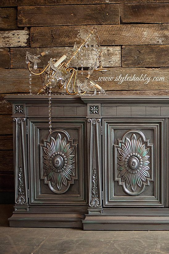 Gorgeous Metallic Furniture Project by Style Shabby with Pewter, Black Pearl and Platinum Metallic Paint by Modern Masters