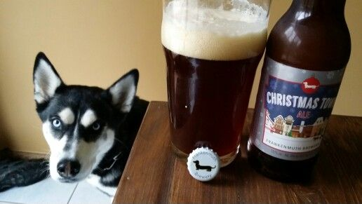 Frankenmuth Christmas Ale. We enjoy this brew, but Bel, the husky, gets jealous when the weiner comes out.