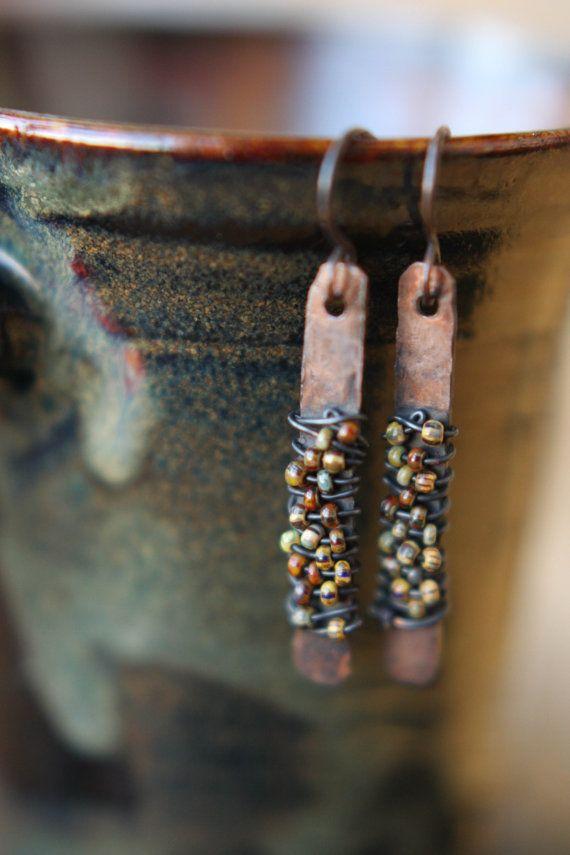 Earthy Hammered Copper Beaded Drop Earrings by Sparrowtaledesign