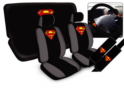 Superman Car Seat Covers Steering Wheel ® TM Black Universal Fit Full Set 11 PC