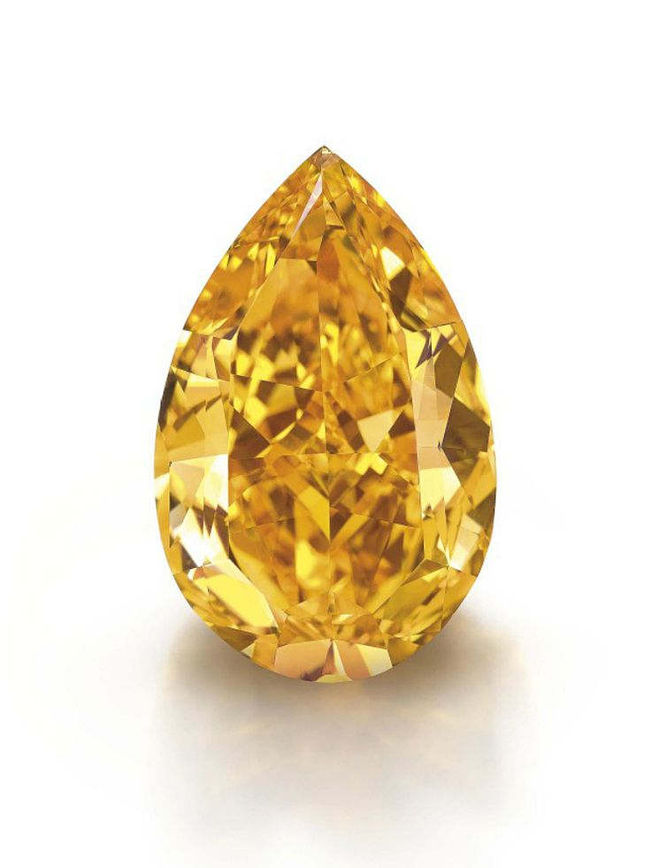The fancy vivid orange pear-shaped diamond weighing approximately 14.82 carats Accompanied by report no. 16319474 dated 17 August 2013 from the GIA Gemological Institute of America stating that the diamond is Fancy Vivid Orange colour, VS1 clarity, and a Diamond Type Classification letter indicating that the diamond is Type IA