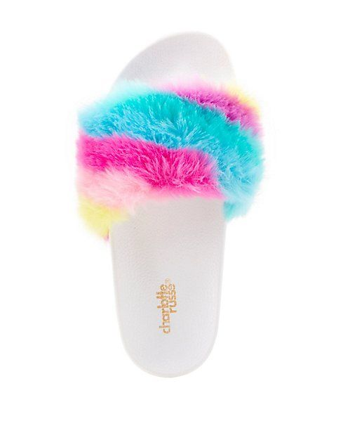 Rainbow Faux Fur Slide Sandals