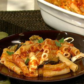 Mama T's Baked Ziti with Eggplant.