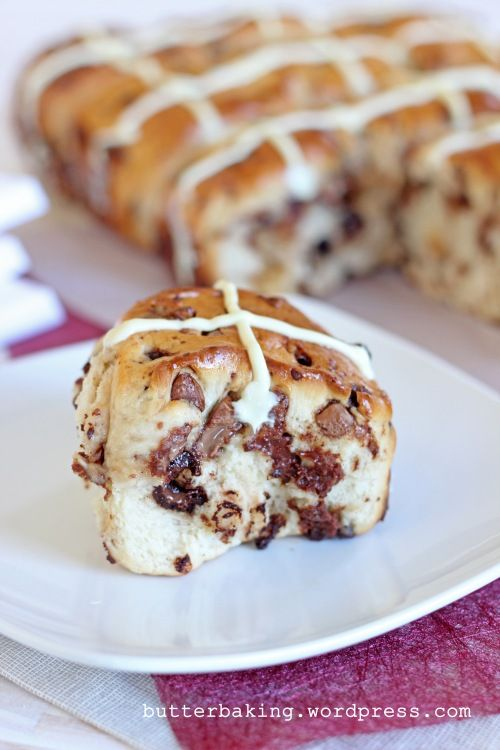 Chocolate Chip Hot CrossBuns: the best- used milk choc and semi-sweet choc chips and vanilla buttercream for the crosses.  Will make again for sure!