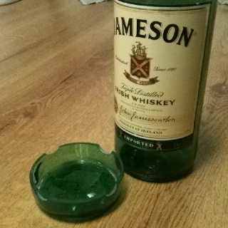 Ash tray made out of a Jameson bottle in Little Rock, AR. Recycle, repurpose, upcycle. Facebook.com/FHJLR
