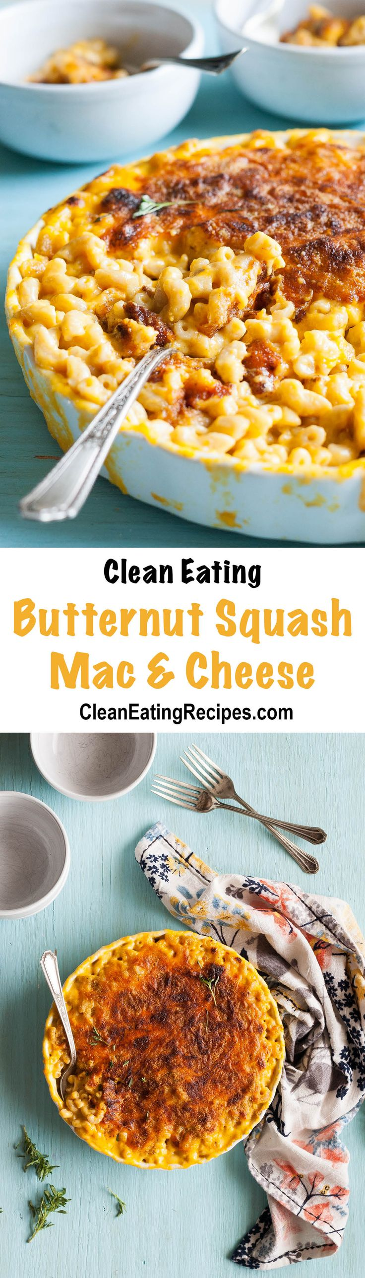 Butternut Squash Clean Eating Macaroni & Cheese Recipe - the squash makes it healthier and creamy, but it still has enough cheese to be delicious!