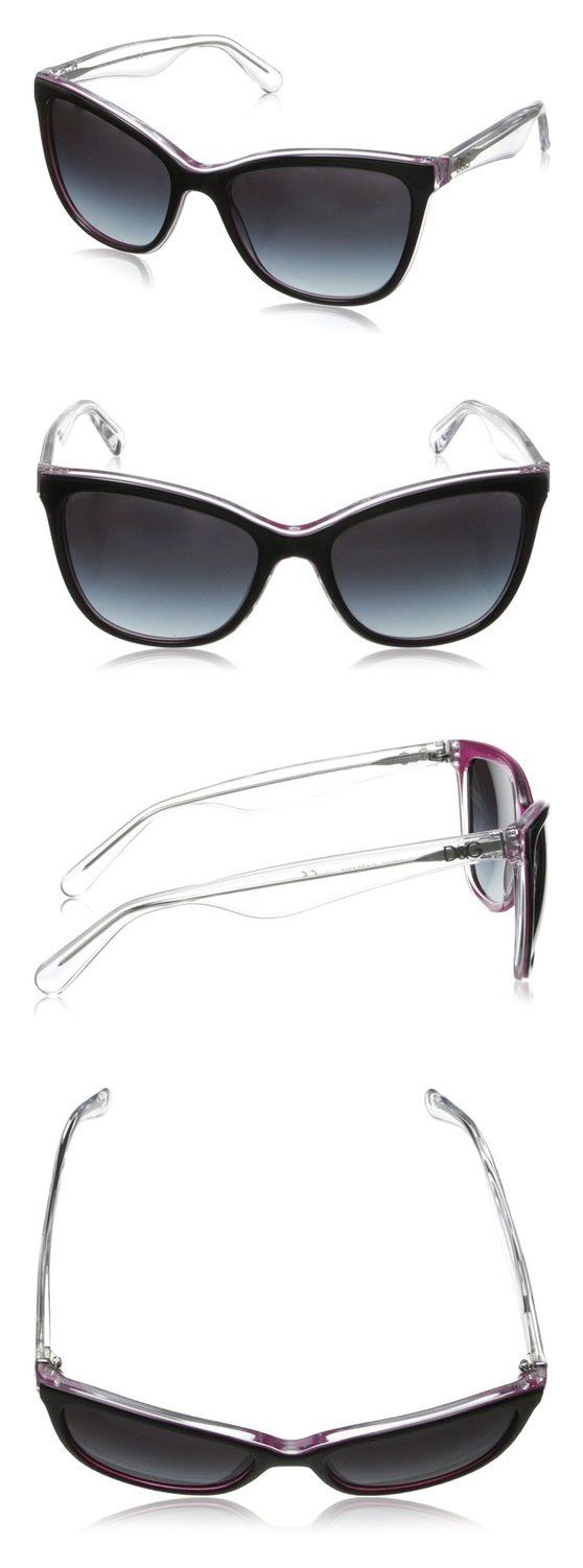 D&G Dolce & Gabbana Women's Lip Gloss Rectangular Sunglasses Black & Pearl Fuchsia & Crystal Grey Gradient #dolceegabbana