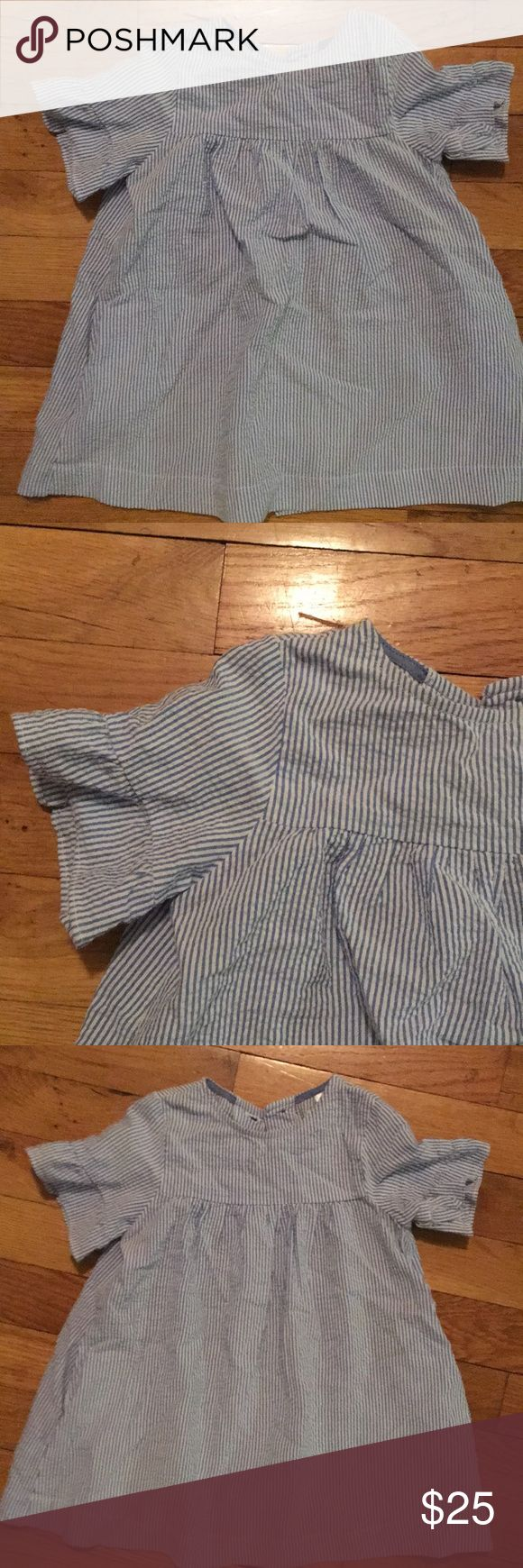 Seersucker toddler dress Only worn once, a little wrinkled from storage. Cute seersucker baby doll with short fluted sleeves and full button back. Size 2/3 toddler Zara Dresses