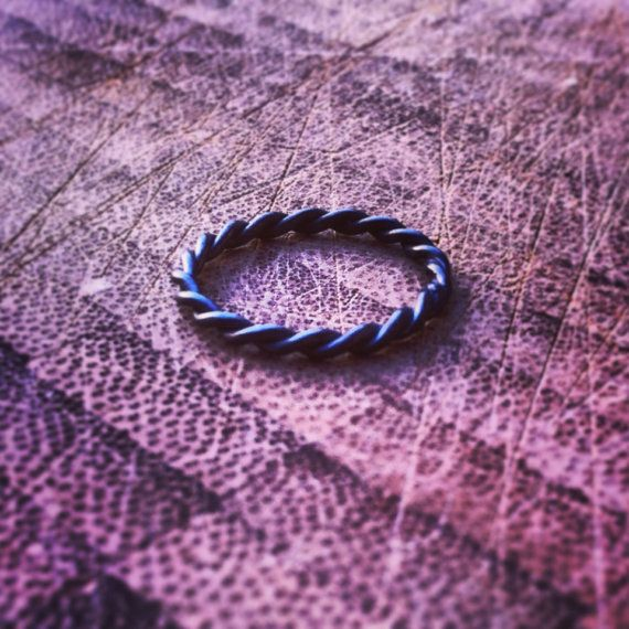 Oxidized Black Sterling Silver Rope Thin Ring by GoldPanPete, $40.00