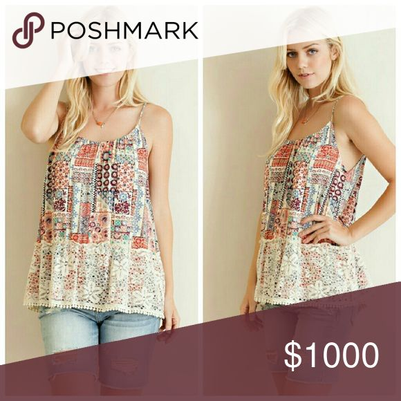 ** COMING SOON ** Multi Print Tank Top Tank top featuring crochet border, ruched neckline, and keyhole detailing with back tie. Non sheer. Unlined. Woven. Lightweight.   Fabric: 100% Rayon Tops Tank Tops