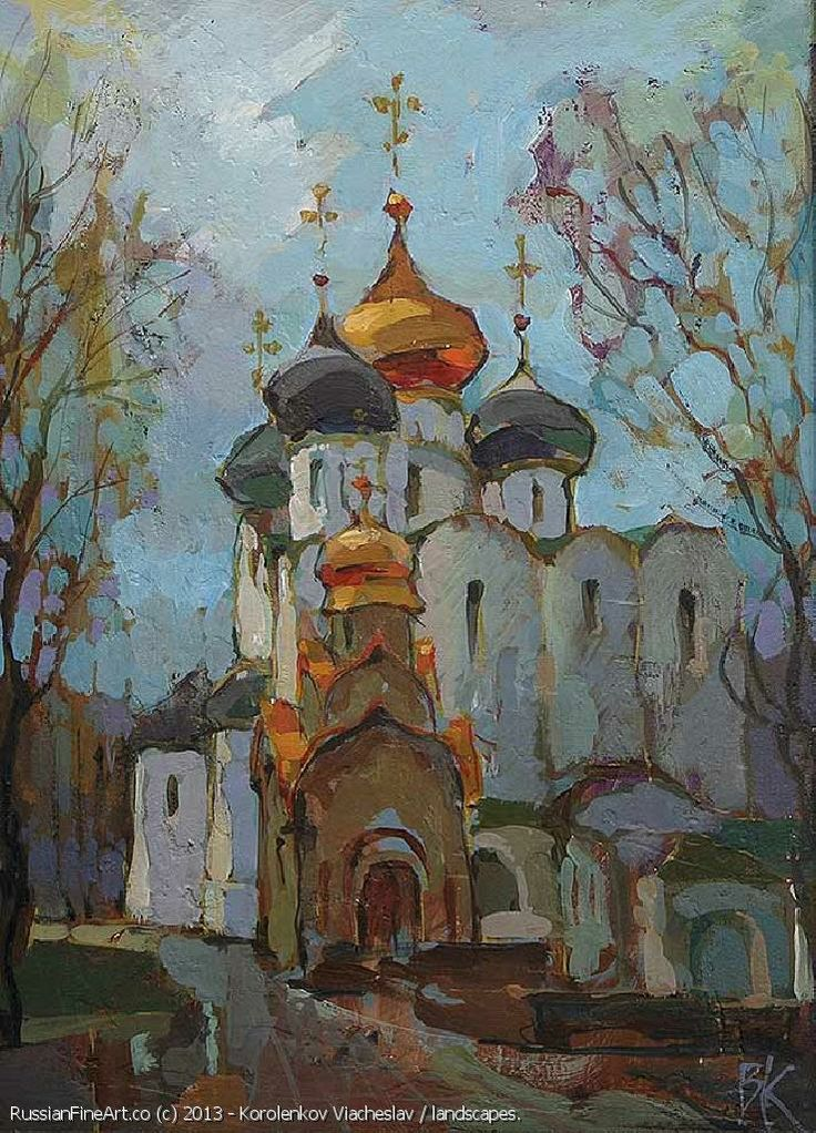 """Novodevichiy Monastery After Rain"" - oil, canvas. http://www.russianfineart.co/catalog/prod.php?productid=18956 Artist: Korolenkov Viacheslav"