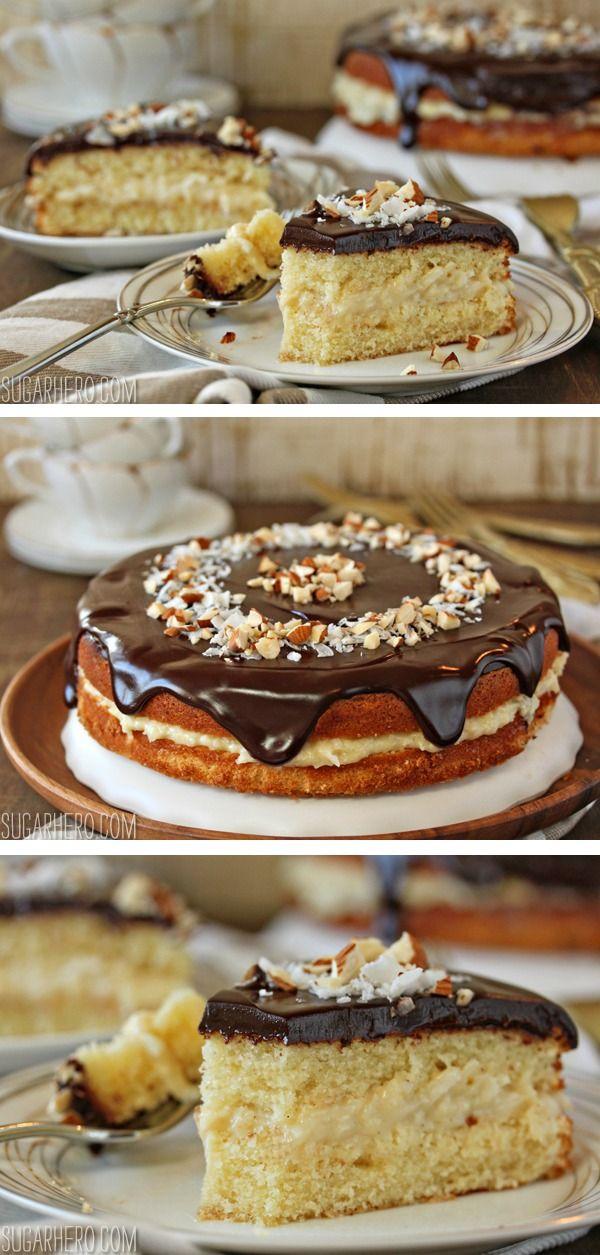 Almond Joy Boston Cream Pie - a moist almond cake, coconut cream filling, and a rich, dark semi-sweet chocolate glaze. | From SugarHero.com