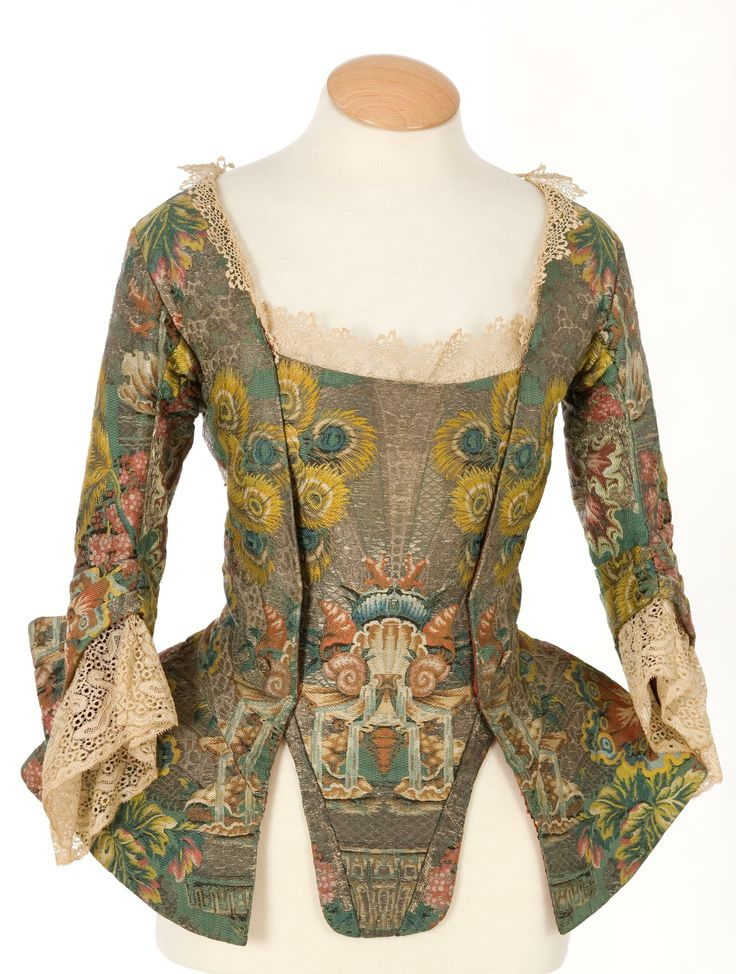 Imatex - jacket, 1740s-60s? - winged cuff, seamed skirt, stomacher