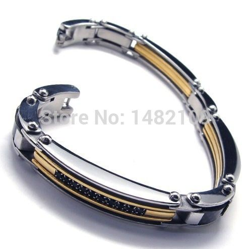 Men's Stainless Steel Bracelet Link CZ Silver Gold Black Biker current male boys accessories Free Shipping