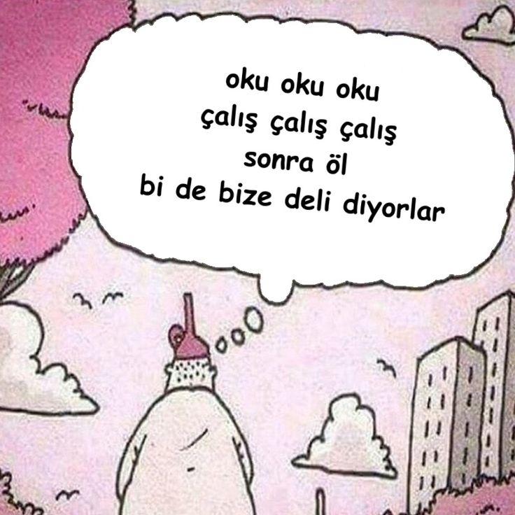 oku oku oku çalış çalış çalış sonra öl bi de bize deli diyorlar. #karikatür #mizah #matrak #komik #espri #şaka #gırgır #komiksözler #hunili