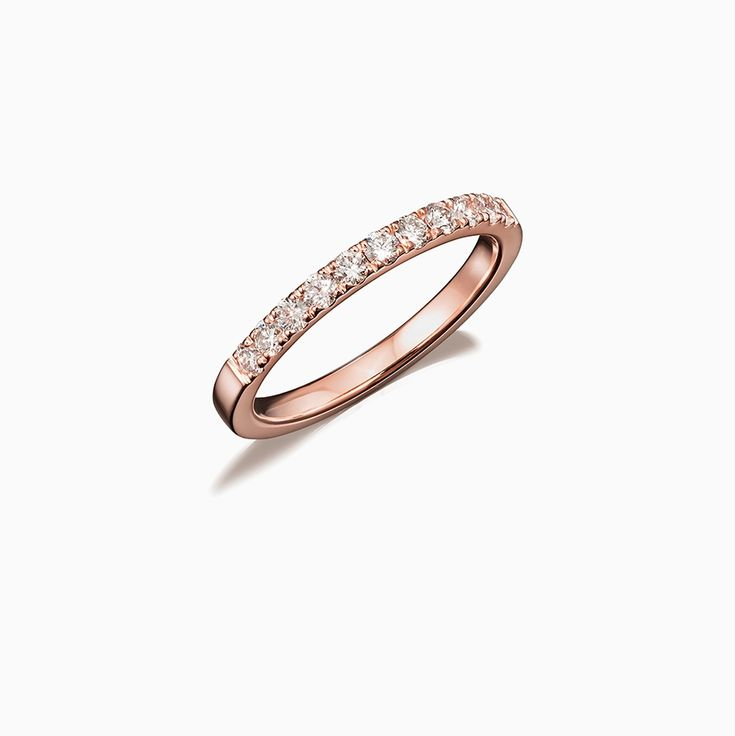 Crown Half Eternity Diamond Band in Rose Gold