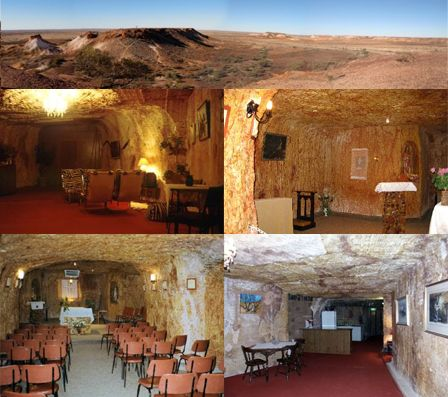 Coober Pedy, Australia: This small town in the middle of nowhere, Australia, is home to some of the strangest houses on Earth. A combination of climactic conditions and the existence of opal mining in the region have literally driven the residents underground. Everything from residences to churches are carved out of the ground as the above images show.