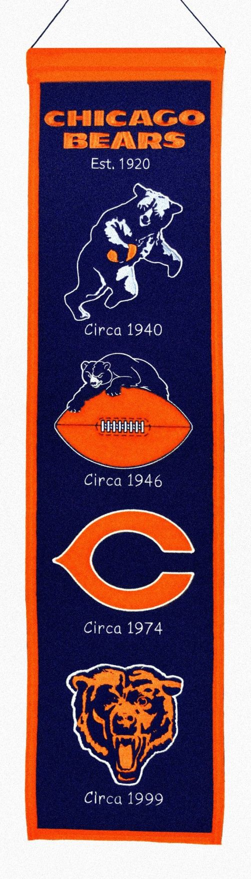 """Chicago Bears Wool Heritage Banner - 8""""x32"""""""