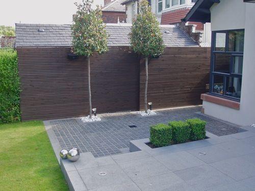 Garden fence in dark brown