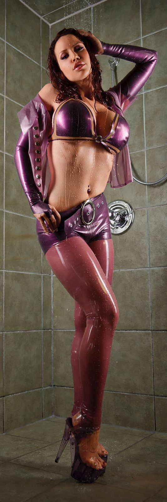 Bianca Beauchamp pink and purple latex in the shower
