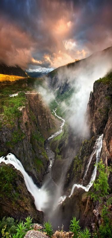 Vøringfossen waterfall which plunges into this gorge of the Eidfjord, Norway. #Norway
