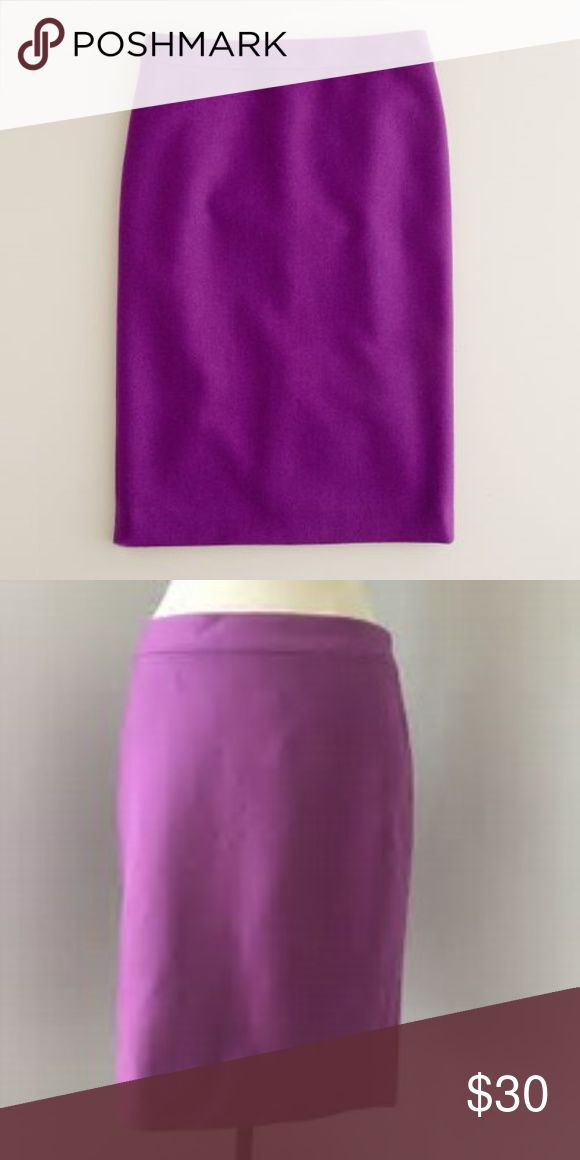 "J. Crew Purple Pencil Skirt in Double-serge Wool J. Crew No. 2 Pencil Skirt in Double-serge Wool- Holiday Skirt!  Wool. Polyester lining. Dry clean. 22"" long. Style no. 47314  Excellent used condition.  Item no. 241-1737 J. Crew Skirts Pencil"