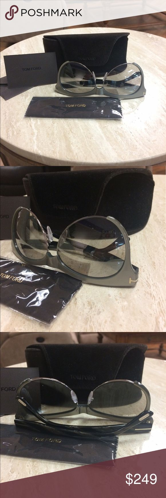 TOM FORD Classic metallic Gray frame Sunglasses In excellent condition!  Comes with everything in the picture.  Final sale trade value higher Tom Ford Accessories Sunglasses