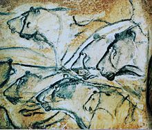 Chauvet Cave - Replica of Painting of Lions. Visitors' senses are stimulated by the same sensations of silence, darkness, temperature, humidity and acoustics, carefully reproduced.