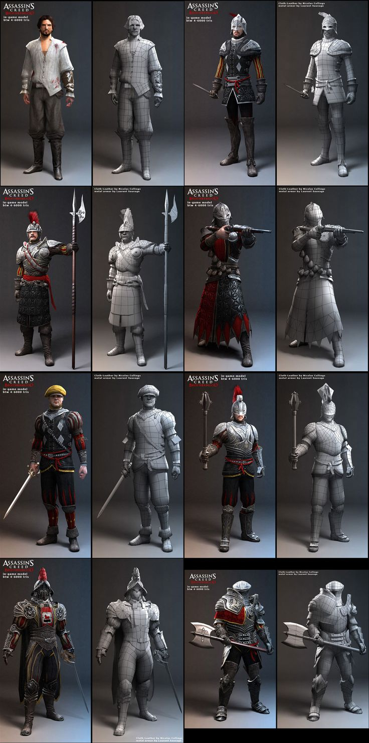 http://www.zbrushcentral.com/showthread.php?97394-Assassin-s-Creed-Brotherhood-Characters