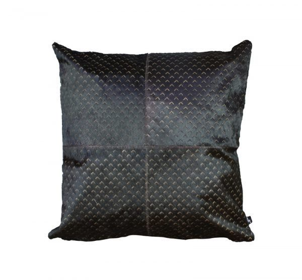 ZENDA CUSHION - BLACK The Zenda laser burn cushion features a fine architectural style mini arrow pattern. The Zenda burn is a lovely textural addition to any hide, blending in seamlessly with any interior.  This cushion has been hand made by skilled artisans, each cushion is unique and one of a kind.  Cushion measures 50 x 50cm. Comes with Tonal Suedette Backing.  PET Fill included.