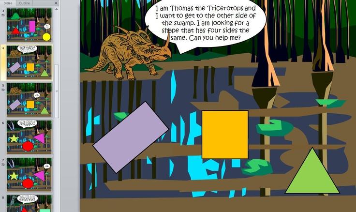 Dinosaur shape powerpoint - Help Steve the Stegosaurus find 2D shapes in the Dinosaur Swamp