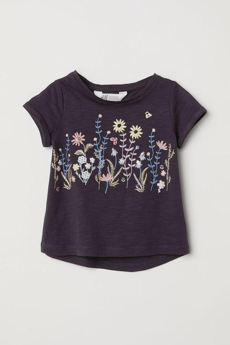 Dżersejowy top z aplikacjami - Ciemnoniebieski/Kwiaty - Dziecko   H&M PL 3
