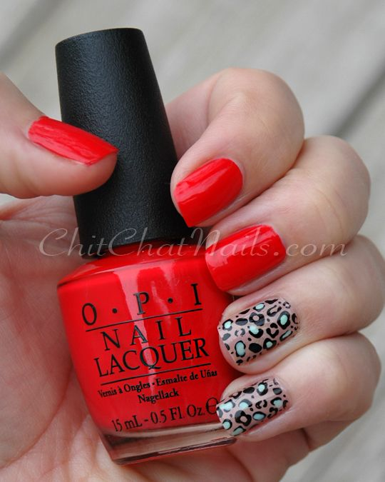 "ChitChatNails » ""OPI Red Light Ahead… Where? For the accent fingers I used two coats of Revlon Grey Suede, and stamped the cheetah print with Konad plate m57 and Sally Hansen Black Creme.  I added in some accents with Revlon's Minted as well."""