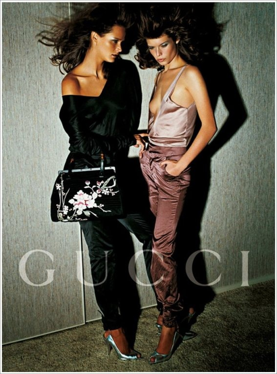 S/S 2003 Tom Ford Gucci Embroidered handbag from the ad campaign - simple cuts in beautiful silk fabric