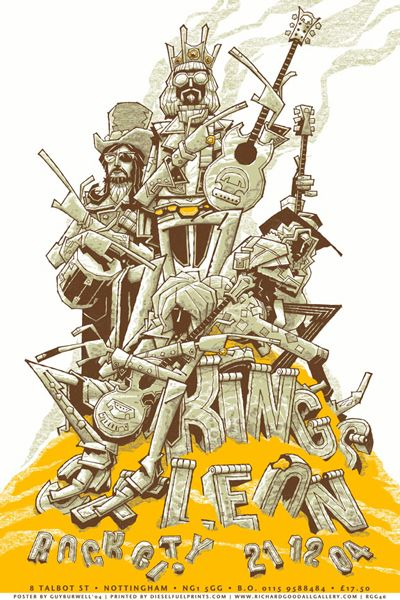 Kings of Leon 2004 Tour Art Poster designed by Guy Burwell