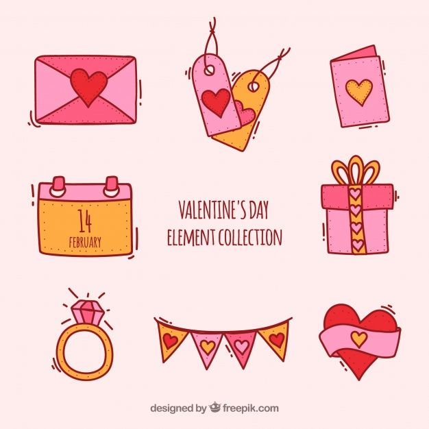 Hand drawn valentine's day element collection Free #Vector
