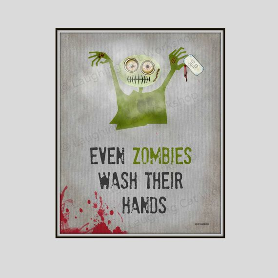 Funny Bathroom Wall Art Funny Zombie Art By Laughingcatworkshop Part 30