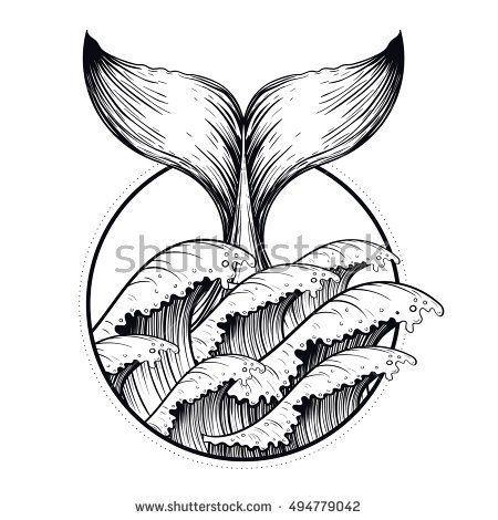 Whale tail in sea waves, boho blackwork tattoo. Ocean line art drawing. Vector i