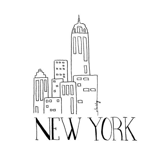 City Sketch - NEW YORK | Black and white Illustration | Inspirational Wall Art | Ink Drawing | Hand drawn with Signature