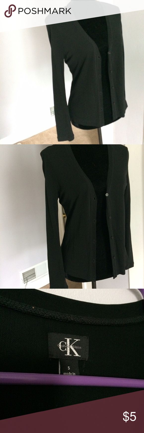 CK Calvin Klein cardigan Black polyester feel cardigan by Calvin Klein. Size small, buttons up front. Calvin Klein Tops
