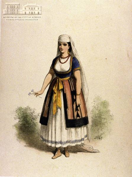 L.P.G.B. STOP (1825-1899) (painter & engraver) Attire of a young Greek woman lithography, 24.5 x 18 cm