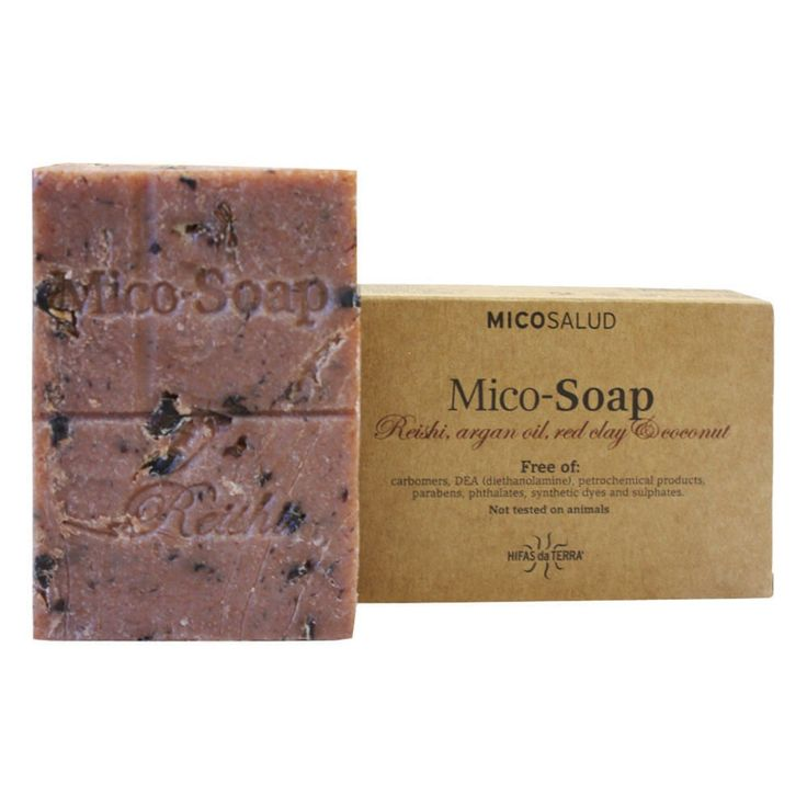 Hifas da Terra  Mico- Soap: Reishi ,  Argan oil, Red Clay & Coconut  is an artisan soap made of natural ingredients which helps to regenerate your skin. Thanks to Red Clay, this soap is recommended for oily skins.