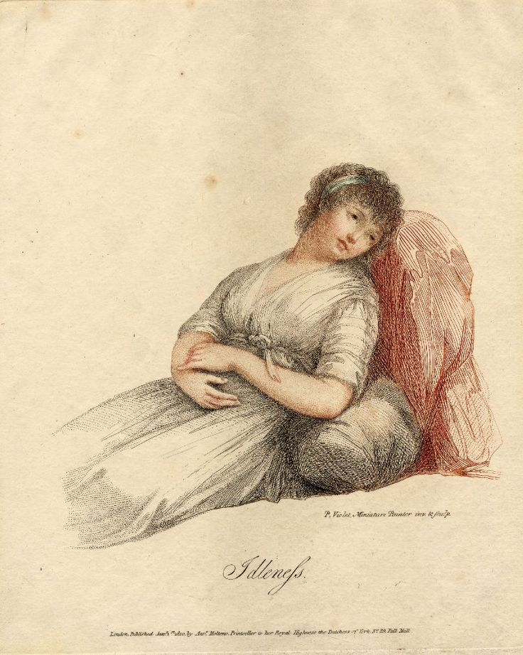 Idleness, Woman in white dress leaning on a cushion and a red drapery.  1810  Colour etching with some stipple engraving, print made by Pierre Violet, published in London.