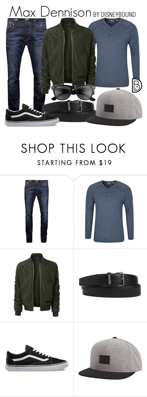 """""""Max Dennison"""" by leslieakay ❤ liked on Polyvore featuring Jack & Jones, LE3NO, Yves Saint Laurent, Vans, Billabong, Ray-Ban, Halloween, disney, disneybound and disneycharacter"""
