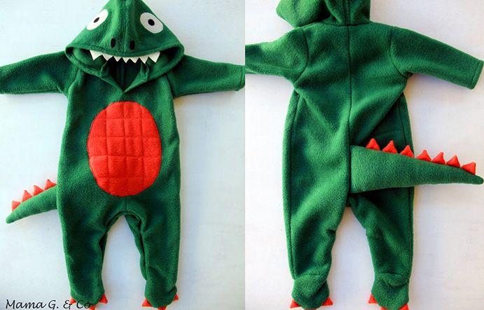 Tutorial fuer Baby Dino/ Dinosaurier/ Drachen Kostuem fuer Fasching. ACHTUNG, kein Schnittmuster fuer den Anzug dabei, es wird aus einem Anzug der Dino gemacht (aber es befinden sich auch Schnittmuster fuer solche Anzüge auf meinen Boards...)