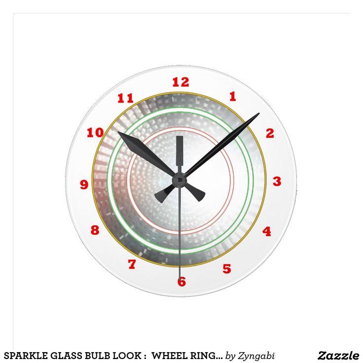SPARKLE GLASS BULB LOOK :  WHEEL RINGS CIRCLES ROUND WALLCLOCKS