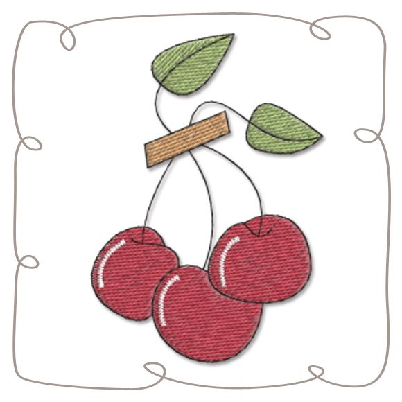 Cherry Machine Embroidery Design Pattern-INSTANT DOWNLOAD