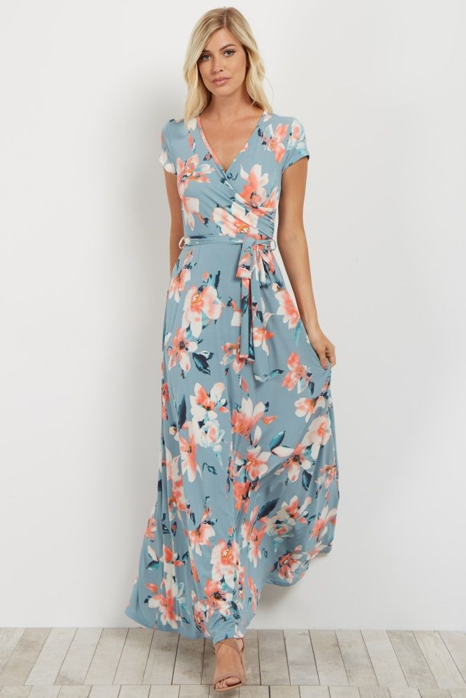 54deedf4fc73b Light Blue Floral Short Sleeve Wrap Dress