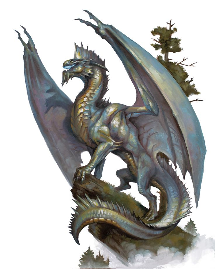 Dragon, Silver (from the D&D fifth edition Monster Manual). Art by Tom Babbey.
