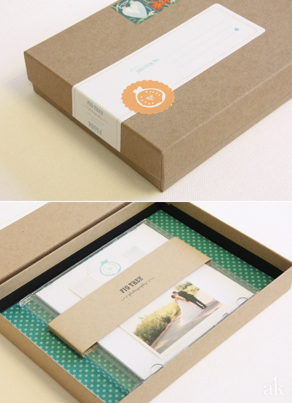 Photographer CD/DVD Packaging || Akula Kreative #branding #packaging #box #label #seal #orange #blue #white #kraft